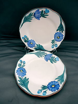"2 VINTAGE STANGL ""DAHLIA"" 6"" WALL PLATES BLUE AND WHITE HAND PAINTED RARE"