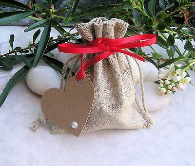 100 Love Heart Wedding Favour / Gift Tags Labels With Ribbon & Pearl or Crystal