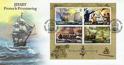 Jersey 2014 FDC Pirates & Privateering 4v M/S Cover Ships Boats Nautical