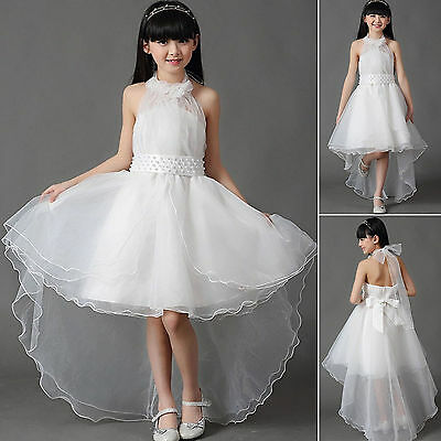 Girls White Flower Bridesmaid Party Wedding Pearl Dress Kids Dresse Age 2-13Year