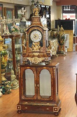 Vintage Grandfather Granddaughter Clock Gold Antique Wood Inlay W Cabinet Estate