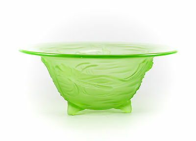 Phoenix Lime Green Art Glass Footed Bowl Raised Goldfish Design; Hand Polished