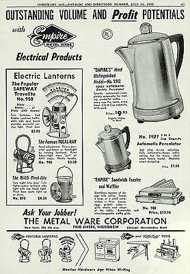 1952 Empire Metal Ware Electric Lantern & Coffee Pot Ad Two Rivers Wi Wisconsin