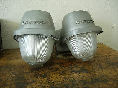 Vintage Industrial Antique Light Lamp Explosion Proof Barn Shade Holophane Glass