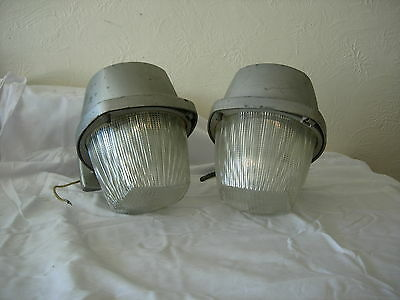 Vintage Industrial Antique Light PAIR Explosion Proof Barn Shade Holophane Glass