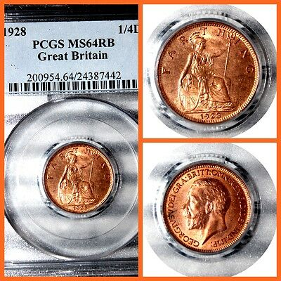 GREAT BRITAIN 1928 1/4D  FARTHIG PCGS  MS-64RB  #442
