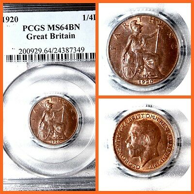 GREAT BRITAIN 1920 1/4D  FARTHIG PCGS  MS-64BN  #349