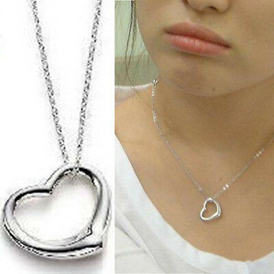 Hot Charm Korean Silver Peach Love Heart Pendant Necklace Present Gift For lover