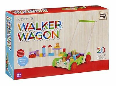 Kids Wooden Walker Wagon Play Cart with 20 Blocks