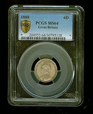 1888 Great Britain 6 Pence PCGS MS 64 Six Pence 6P