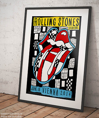 🎸 The Rolling Stones 14 On Fire Vienna Poster Stampa Fine Art Musica Concerti