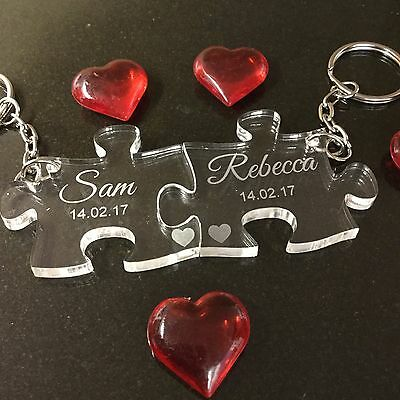 Personalised Valentine's Anniversary Love Gift Jigsaw Keyrings Couples