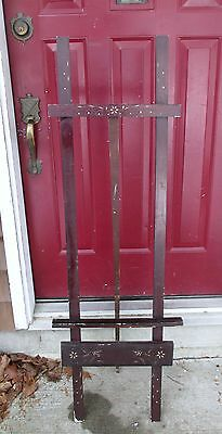 Antique Wood Art Easel Painting INLAY Floral Work MOP