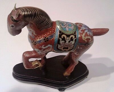 Vintage Chinese Rust Colored Cloisonne Brass Horse Figurine