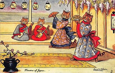 """Louis Wain Signed Cats  """"Flowers of Japan"""" Postcard"""