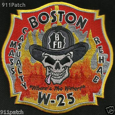 BOSTON, MA - Casualty Rehab W-25 Where is the Water FIREFIGHTER Patch FIRE DEPT.