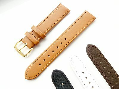 Black,Brown,Tan,White High Quality Soft Leather Watch Strap 6mm-24mm