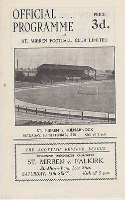 ST MIRREN v KILMARNOCK ~ 1 OCTOBER 1960