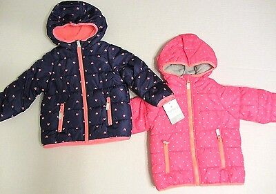 NWT Carter's Hooded Puffer Jacket Baby Girls Coat SZ 12 18 24 Months