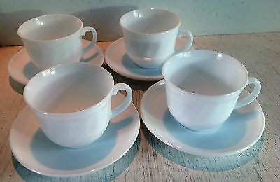 4 Vintage Arcopal France Milk Glass Cups & Saucers, White Swirl (2146)