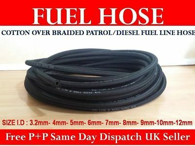 Cotton Braided Rubber Fuel Pipe Tubing Petrol Diesel Line Unleaded Oil Hose UK