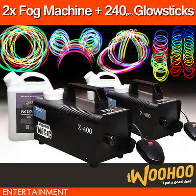 2x 400W Fog Machine & 240 Glow Stick Pack Bracelet Glow in the dark party supply