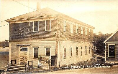 East Machias ME I. O. O. F. Building Movies Posters RPPC Real Photo Postcard
