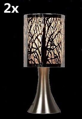 2x Bedside Desk Cafe Metal Etching Touch Lamp Silver Tree 30cmH