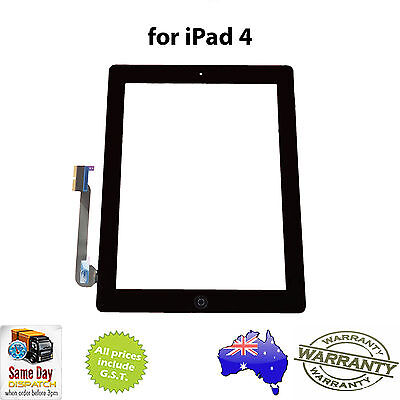 iPad 4 (4th Gen) GLASS TOUCH SCREEN DIGITIZER + Home Button + Adhesive - BLACK