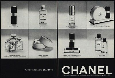 1974 CHANEL No 5 Perfume - Cologne - Body Lotion - Bath Powder - 2 pg VINTAGE AD