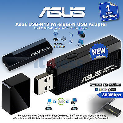 NEW Asus USB-N13 Wireless-N USB Adapter 300Mbps
