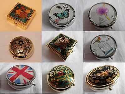 Gold / Silver Metal Small Pill / Trinket Box. New. Choose From 19 Designs