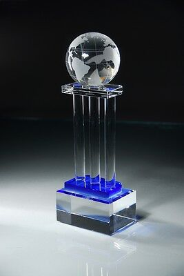 Genuine Crystal World Globe Award Trophy Free Glass Engraving Faceted Crystal