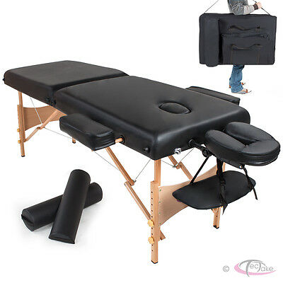 Adjustable Portable Folding Massage Table Bed Therapy Beauty 7,5cm Pillows black