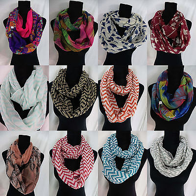 US SELLER-lot of 5 Chevron infinity scarf wholesale lot bear abstract floral