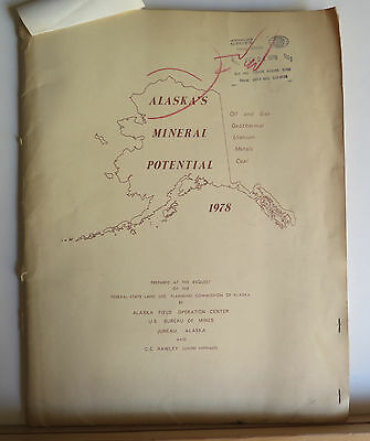 Alaska's Mineral Potential 1978 Oil Gas Geothermal Uranium Metals Coal 8 Maps