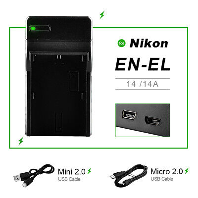 New USB Battery Charger EN-EL14 ENEL14 For Nikon D3100 D5100 P7000 P7100 MH-24