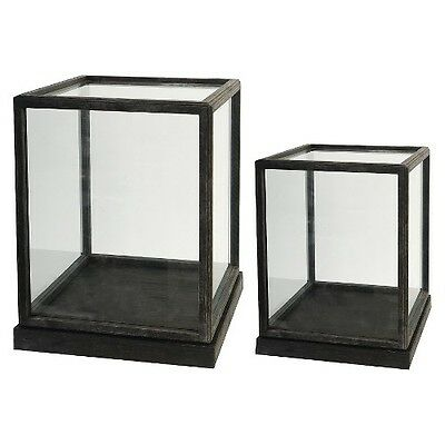 "Set of 2 Glass and Wood Display Boxes - 17.5"" and 19"""