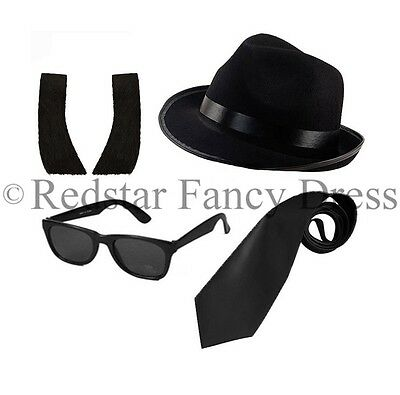 Blues Brothers Hat Sunglasses Black Tie Side Burns Fancy Dress Stag Gangster