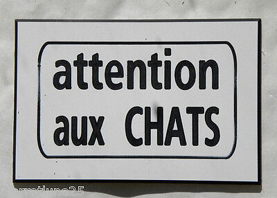 plaque gravée ATTENTION AUX CHATS 100 x 150 mm