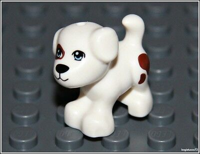 Lego City x1 Small White Dog Brown Puppy Spots Pet Animal Friends Minifigure NEW