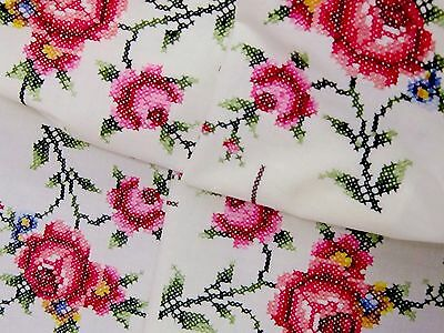 Beautiful Vintage Hand Embroidered Lemon Cotton Tablecloth with Crochet Lace