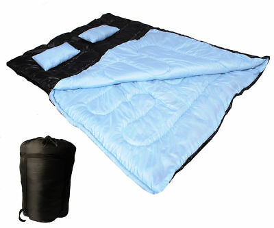 Large Double Sleeping Bag Camp Camping Travel Sleep Cozy Thick Warm W/ 2 Pillows