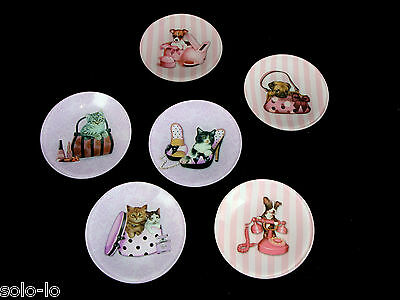 6 Glamour Decorative Art Deco Glass Mini Display Plate Cats Dogs 10cm Boxed New