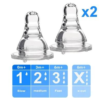 2x Pcs Standard Bottle Teat Dummy Nipple for Small Neck - Various Flow Rates