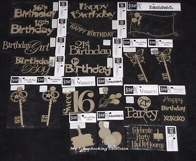 SCRAP FX Chipboard 'BIRTHDAY' Embellishments Party (Choose from 54 designs)