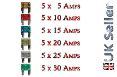30x Pcs Mini Mixed Mix Auto 5A Amp Fuse Car Van Truck  5A 10A 15A 20A 25A 30A