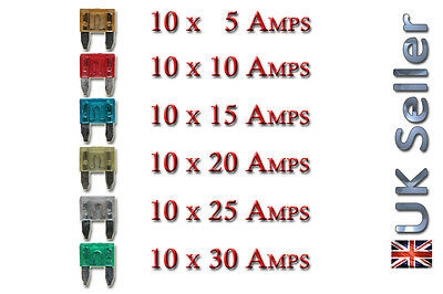60x Pcs Mini Mixed Mix Auto 5A Amp Fuse Car Van Truck  5A 10A 15A 20A 25A 30A