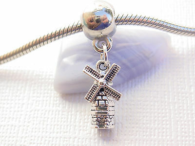 3D Silver Tone Netherlands Dutch Holland Windmill Dangle Charm fit Euro Bracelet