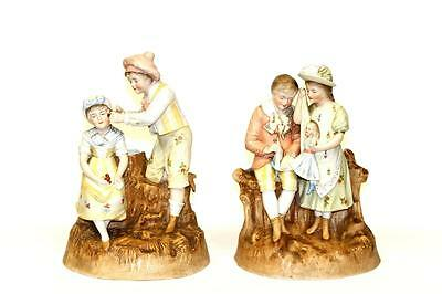 Antique Porcelain German Figurine Statue Children Pair Kids Playing Grownups A++